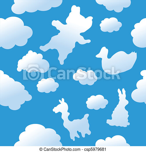 Seamless animal clouds background - csp5979681