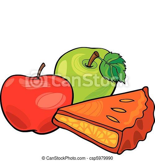 Clipart vecteur de pommes et pomme tarte illustration - Dessin pomme apple ...