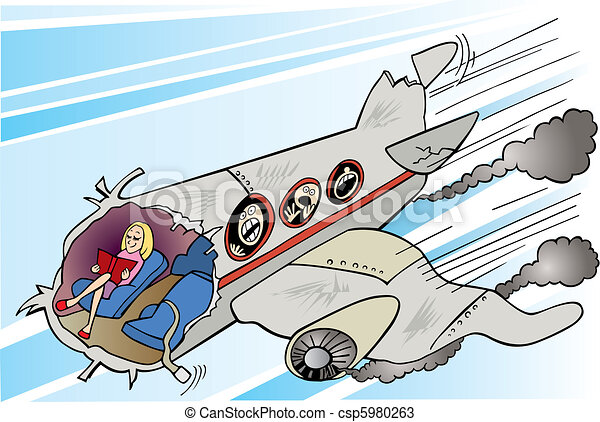 Calm girl and plane crush - csp5980263
