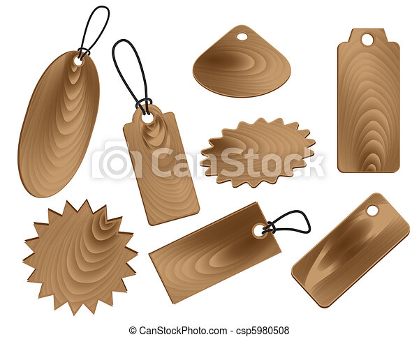 Price tags in wood grain textures style - csp5980508