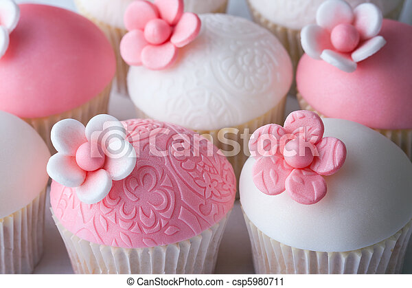 Stock Photography of Wedding cupcakes - Cupcakes decorated with embosssed fondant...