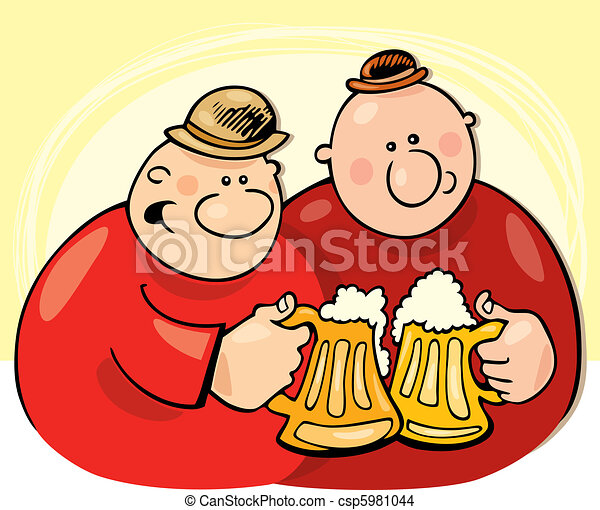 Guys drinking beer - csp5981044