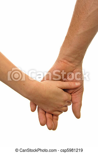 Adult man and child holding hands - csp5981219