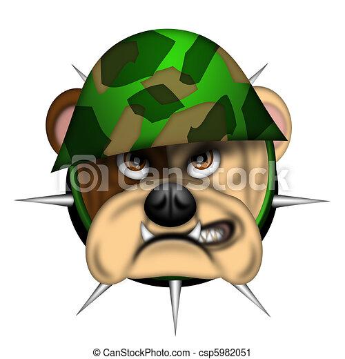 English Bull Dog Head with Army Helmet - csp5982051