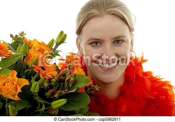 Woman with orange flowers - csp5982911