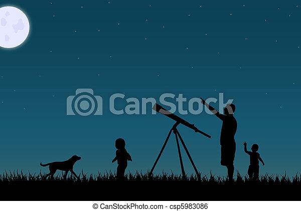 Image of a family star gazing against a night sky. - csp5983086