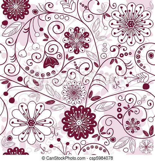 White-purple seamless floral pattern - csp5984078