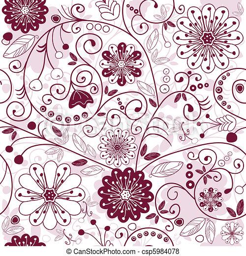 White-purple seamless floral pattern - csp5984078