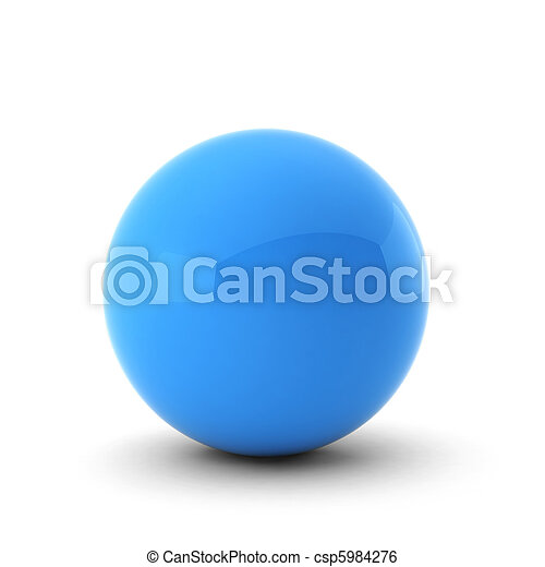 3d render of  blue ball on white - csp5984276