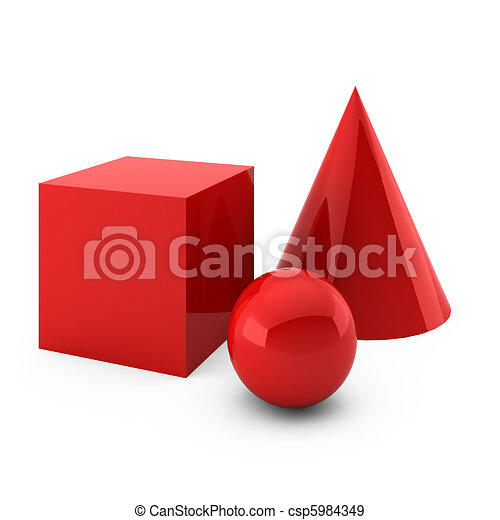3d render of red primitives isolated on white - csp5984349