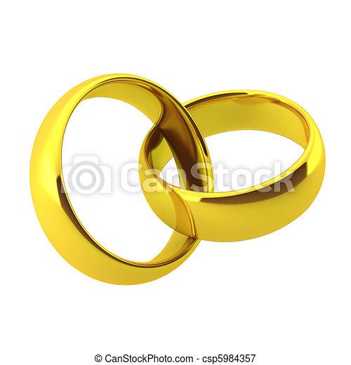 3d render of two golden wedding rings - csp5984357