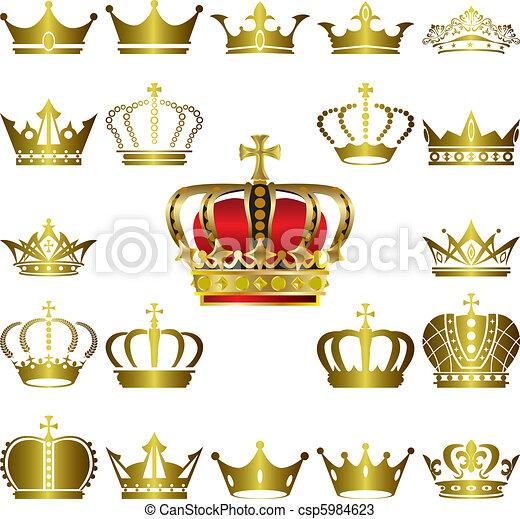 Crown and tiara icons set - csp5984623