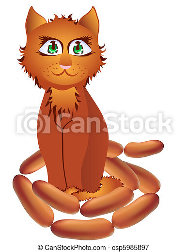 Red-haired cat with a string of sau - csp5985897