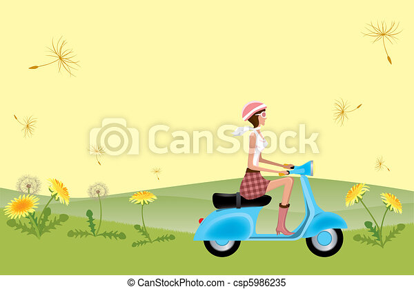 Scooter Girl on Dandelion Seeds - csp5986235