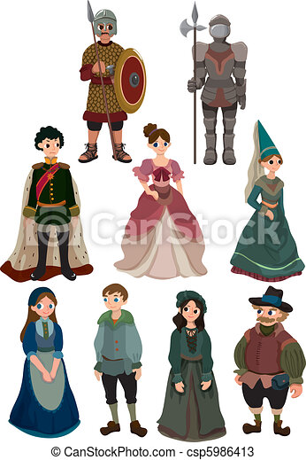 cartoon Medieval people icon  - csp5986413