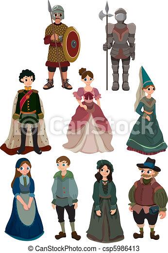 cartoon Medieval people icon  - csp5986413
