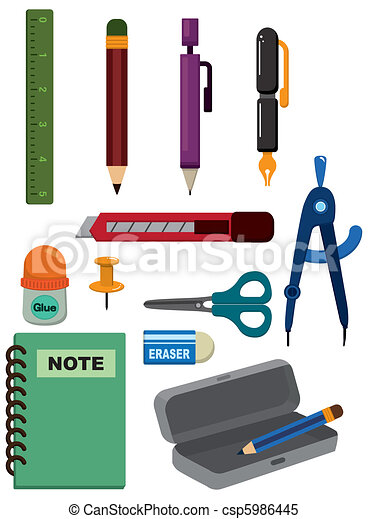 cartoon Stationery icon - csp5986445