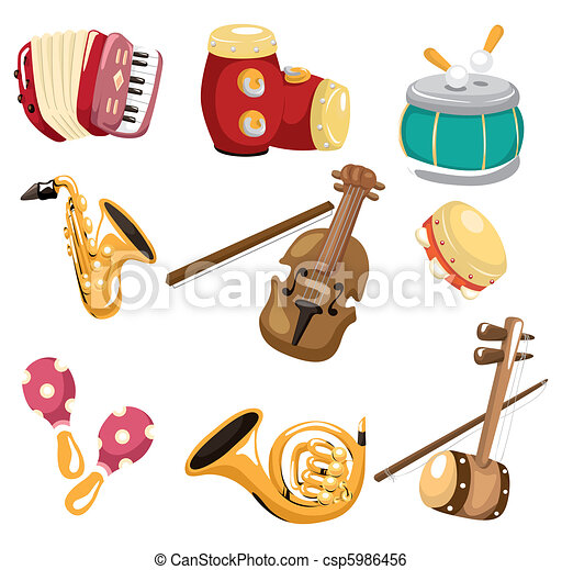 cartoon musical instrument icon  - csp5986456