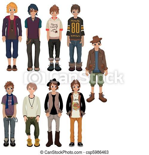 漫画, 魅了, 若い, 人, アイコン - csp5986463 漫画, 魅了, 若い, 人,