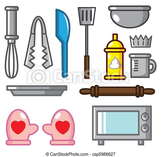 Vektorer illustration av verktyg bakning tecknad film for Herramientas de un cocinero