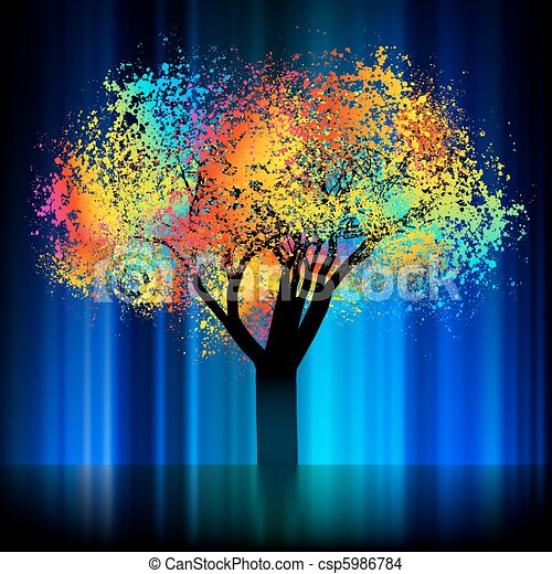 Abstract colorful tree. With copy space. EPS 8 - csp5986784