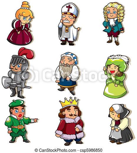 cartoon medieval people icon  - csp5986850