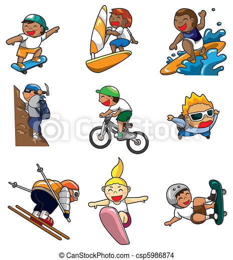cartoon Extreme sport icon  - csp5986874