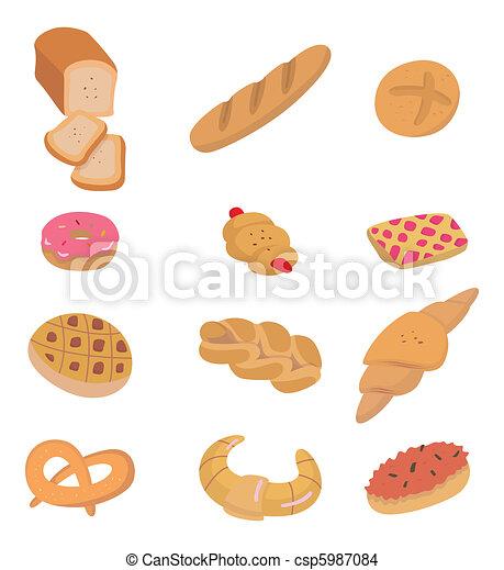 cartoon bread icon  - csp5987084