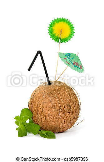 Refreshing tropical coconut drink - csp5987336