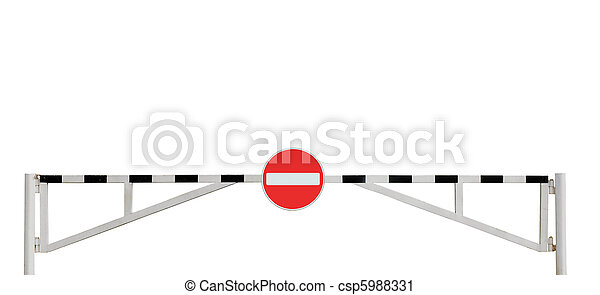 Grunge Aged Weathered Road Barrier Gate And No Entry Sign - csp5988331