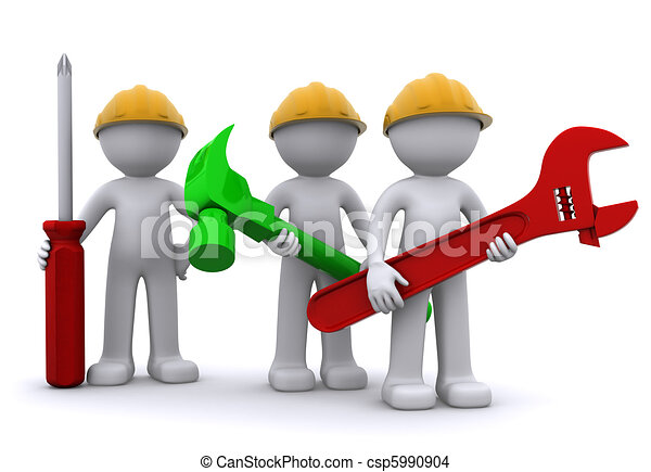 Team of construction worker with equipment - csp5990904