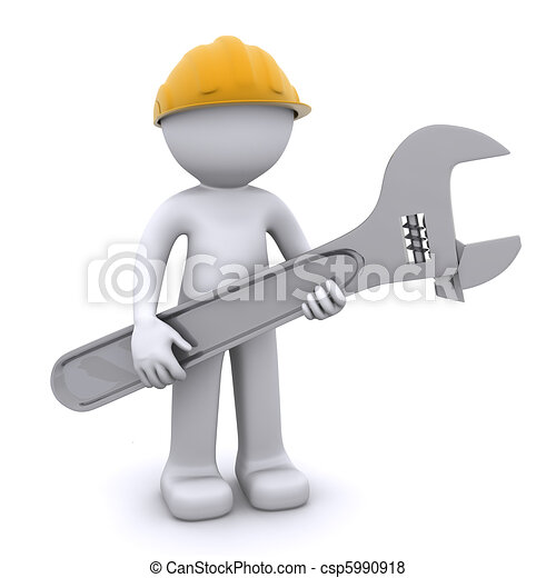 3D construction worker with adjustable wrench - csp5990918