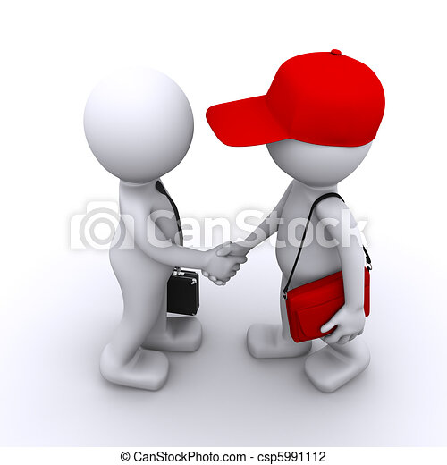 3d businessman shaking hands with customer - csp5991112