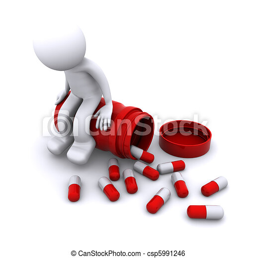 sick 3d character sitting on pill pot - csp5991246