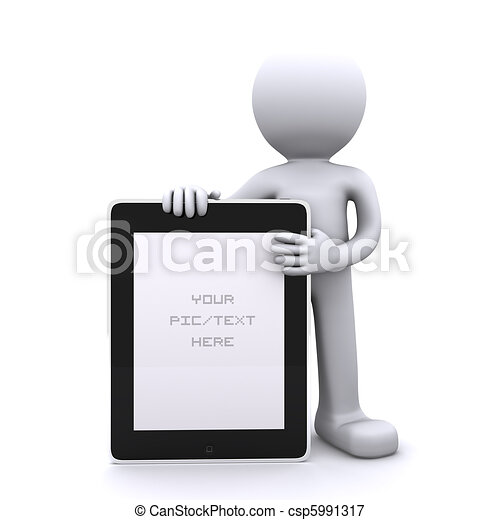 3D man holding a blank tablet pc. Advertising concept - csp5991317