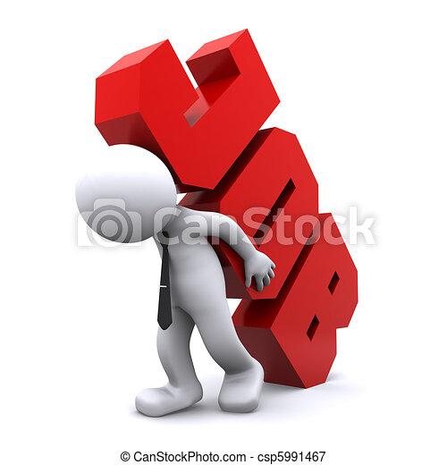 3d man carrying heavy job sign. Overworking concept. - csp5991467