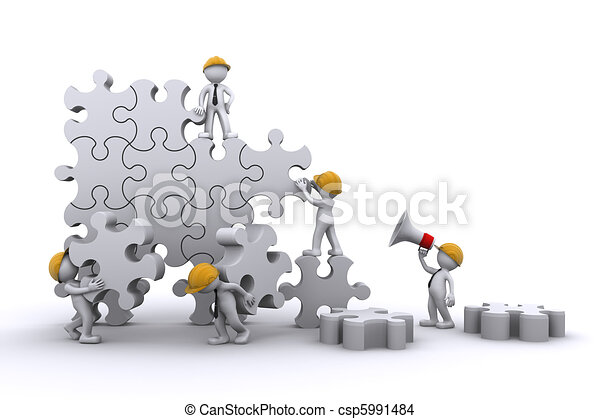 Business team work building a puzzle. Buuilding business concept. - csp5991484