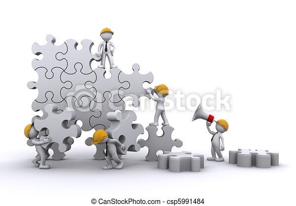 Business team work building a puzzle. Buuilding business concept. - csp5991484