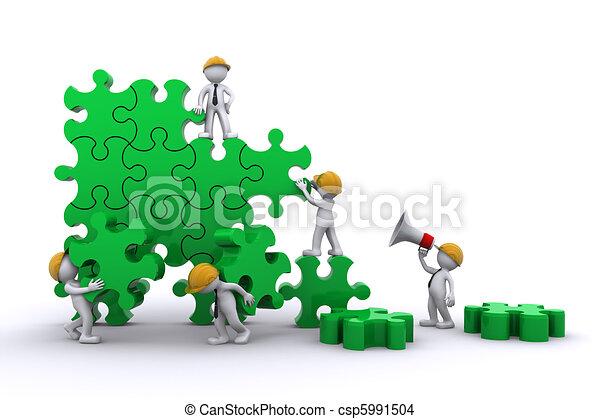 Business team work building a puzzle. Buuilding business concept. - csp5991504