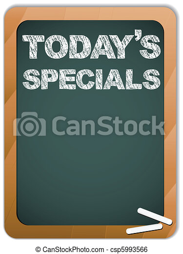 Blackboard with Today's Specials Message written with Chalk - csp5993566