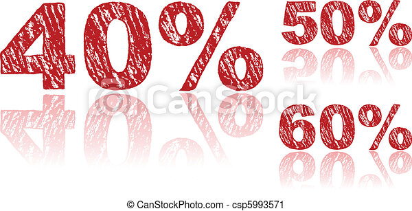 Sale Percentages Written in Red Chalk - Set 2 of 3 - csp5993571