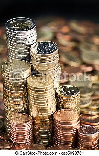 Euro currency coin columns - csp5993781