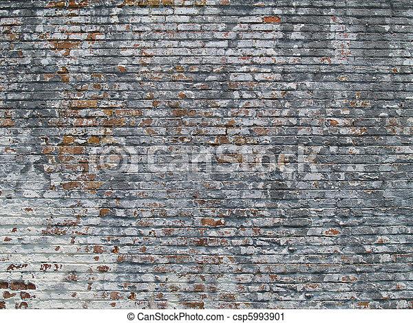 Weathered Painted Brick Wall - csp5993901