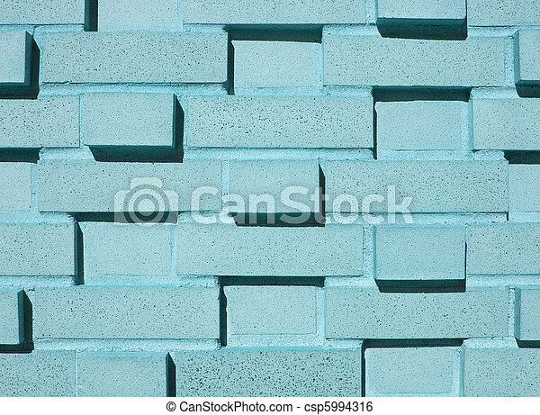Multi-Layered Aqua Brick Wall - csp5994316