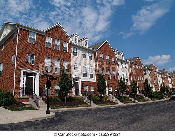 Row of Brick Condos - csp5994321