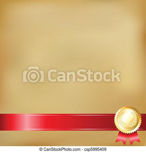 Old Paper And Gold Award Ribbons - csp5995409
