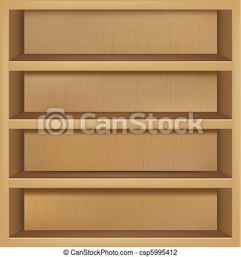 Vector vac o de madera estante libros stock de - Dibujos de estanterias ...
