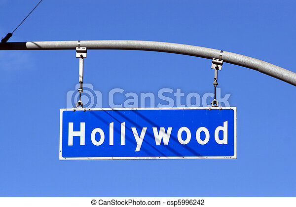 Hollywood Boulevard street sign, Los Angeles, California, USA. - csp5996242