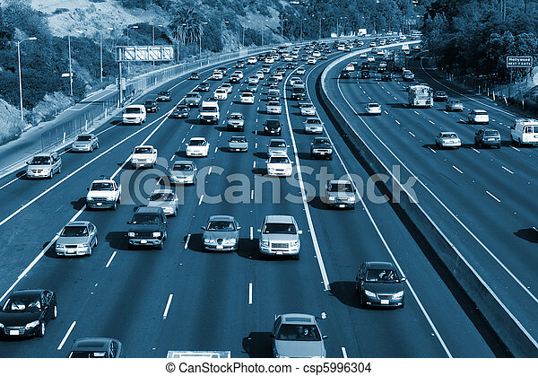 Traffic on the Hollywood 101 freeway. Los Angeles, California, USA. - csp5996304