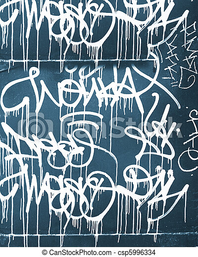 Blue background covered by layers of graffiti - csp5996334